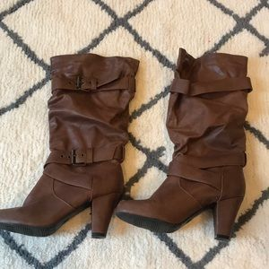 Pull on mid calf boots
